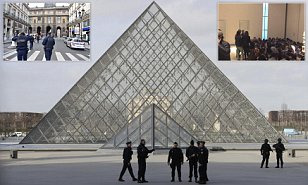 Machete-wielding man slumps to the ground after being shot in the stomach at the Louvre museum as he attacked French soldiers while screaming 'Allahu Akbar'